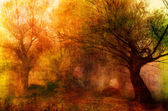 Landscape painting showing creepy forest on dark autumn day — Foto de Stock