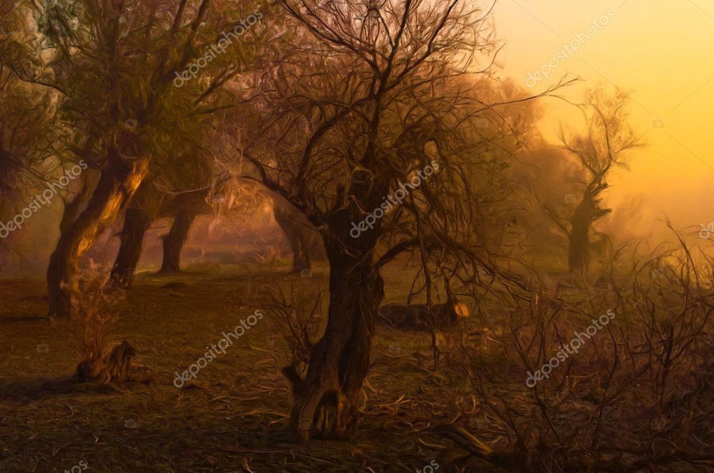 Creepy landscape painting showing mystical forest on dark autumn day — Stock Photo #9173118