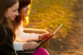 Two beautiful teenage girls having fun with notebook in the park on sunny spring day — Stock Photo
