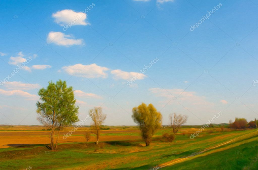 Landscape painting showing meadow and plains with couple of trees on sunny spring day  Stock Photo #9721221