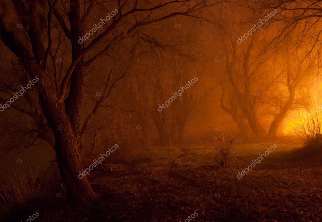 Landscape painting showing spooky forest in the cold autumn night — Photo #9721824