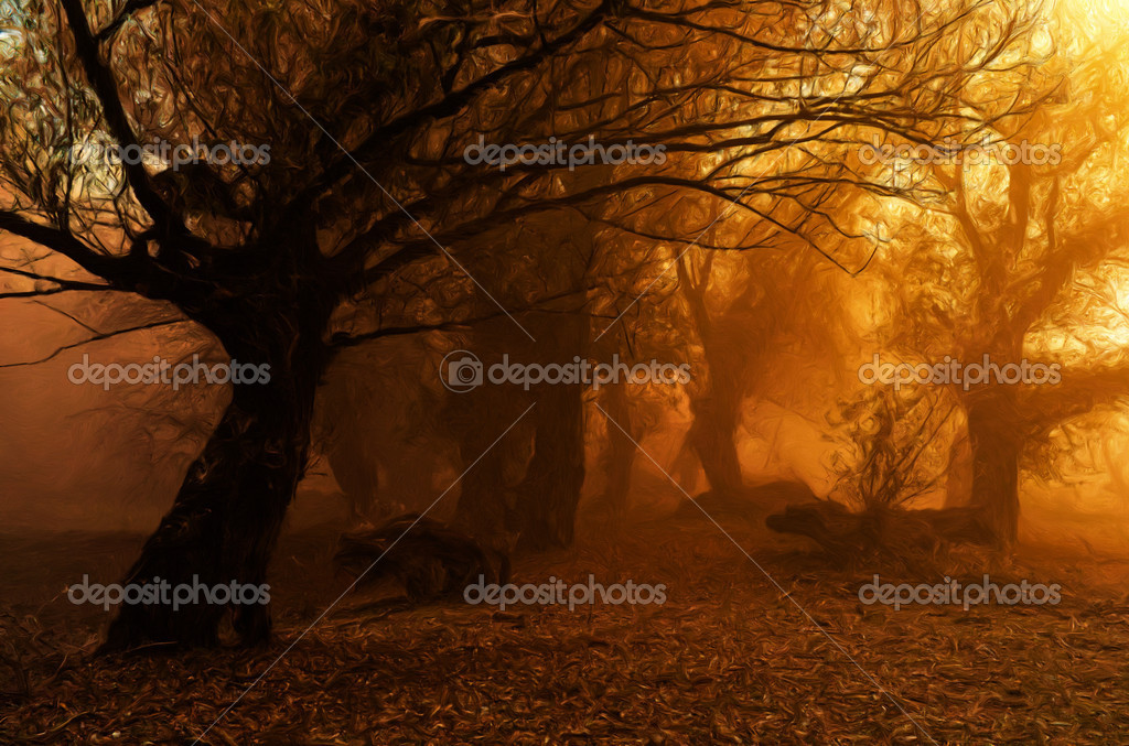 Landscape painting showing creepy forest on misty autumn day stock
