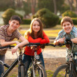 Royalty-Free Stock Photo: Two smiling teenage boys and one teenage girl having fun on bicycles in the park