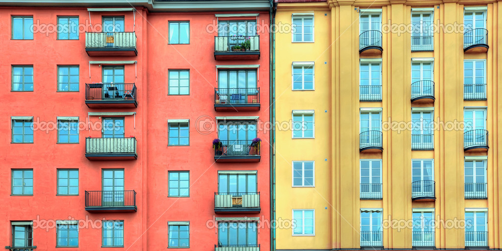 Stockholm residential buildings in bright colours — Stock Photo #8083763