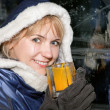 Happy woman in ice-bar — Stock Photo