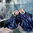 Happy couple in ice-bar — Stock Photo