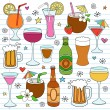 Beer, Wine & Drinks Vector Illustration Design Elements — Stock Vector