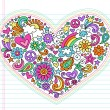 Heart Psychedelic Peace & Love Doodles Vector Illustration — ストックベクタ