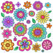 Flower Power Doodles Groovy Psychedelic Flowers Vector Set — Stock Vector #10042159