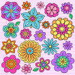 Flower Power Doodles Groovy Psychedelic Flowers Vector Set — Stock Vector #10042161