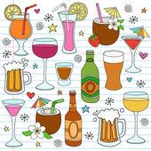 Bira, şarap & içecekler vektör çizim tasarım öğeleri — Stok Vektör