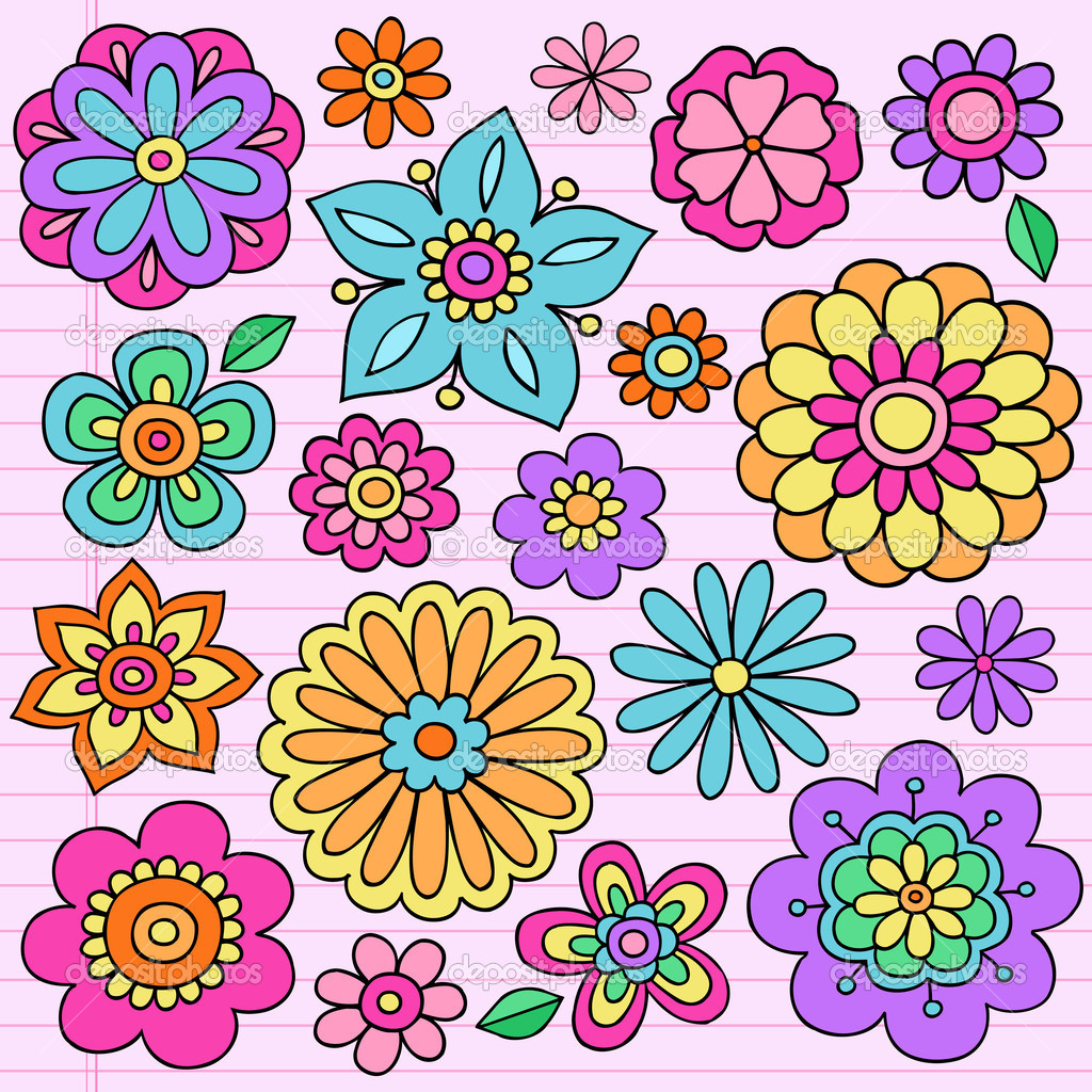 flower power disegnati a mano psichedelica groovy notebook doodle design elementi impostati sull. Black Bedroom Furniture Sets. Home Design Ideas