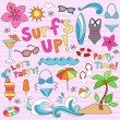 Summer Vacation Surf's Up Beach Doodles Vector Set — Stock Vector