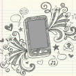 Cell Phone Mobile PDA Sketchy Notebook Doodles Vector Illustration - Stockvectorbeeld
