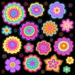 Stock Vector: Flower Power Doodles Groovy Psychedelic Flowers Vector Set