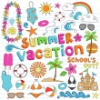 Summer Vacation Hawaiian Beach Doodles Vector Set — Stock Vector