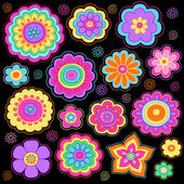 Flower Power Doodles Groovy Psychedelic Flowers Vector Set — Stockvektor