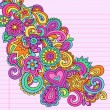 Flower Power Doodles Groovy Psychedelic Flowers Vector Set — Stock Vector #10387537