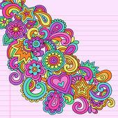 Flower power doodles groovy psychédélique fleurs vector ensemble — Vecteur