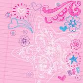 Back to School Sketchy Doodles Page Vector Design Elements — Stock Vector