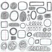 Yarım yamalak karalama karalamalar vektör tasarım öğeleri — Stok Vektör