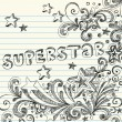 Stock Vector: Sketchy Superstar Back to School Starburst Notebook Doodles