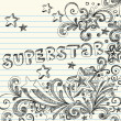 Sketchy Superstar Back to School Starburst Notebook Doodles — Stock Vector #7972770