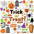 Halloween Notebook Doodles Vector Illustration Design Elements — Imagens vectoriais em stock