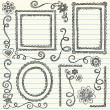 Stok Vektör: Scalloped Frames Sketchy Back to School Doodles