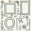 Scalloped Frames Sketchy Back to School Doodles — 图库矢量图片