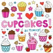 Cupcake Doodles Vector Illustration Design Elements — Stok Vektör