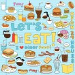 Diner Fast Food Notebook Doodles Vector Set - Stok Vektör