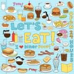 Diner Fast Food Notebook Doodles Vector Set — Stock Vector