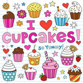 Cupcake Doodles Vector Illustration Design Elements — Vettoriale Stock