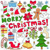 Merry Christmas Notebook Doodles Vector Illustration — Stock Vector