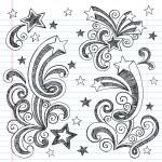 Shooting Stars Sketchy Doodles Design Elements — Stock Vector #8241938