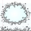 Back to School Sketchy Cloud Frame Notebook Doodles Vector — Stock vektor