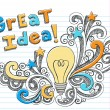 Great Idea Light Bulb Sketchy Doodle Vector — Stock Vector #8247882