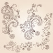 Henna Mehndi Paisley Flowers and Vines Doodle Vector Design - Stock Vector