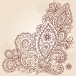 Stock Vector: HennMehndi Paisley Flowers Doodle Vector Design