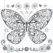 Butterfly Back to School Sketchy Notebook Doodles Vector Design Elements — Stock Vector #8248535