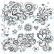 Stock Vector: Stars and Hearts Sketchy Doodles Design Elements