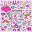 Vector de stock : Princess Notebook Doodles Vector Icon Set Design Elements