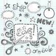 Sketchy Doodles Coupon and Scissors Doodles Vector Illustration - Imagen vectorial