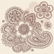 Henna Mehndi Paisley Flowers Doodle Vector Design - Stock Vector