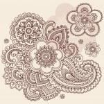 Henna Mehndi Paisley Flowers Doodle Vector Design — Stock Vector #8248577