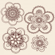 Henna Mehndi Mandala Flowers Doodle Vector Design - Stock Vector
