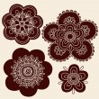 Henna Mehndi Paisley Flowers Silhouette Vector Design Set — Stock Vector