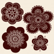 Henna Mehndi Paisley Flowers Silhouette Vector Design Set — Stock Vector #8248581
