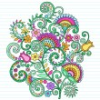 Flowers and Vines Paisley Henna Notebook Doodles - Stock Vector